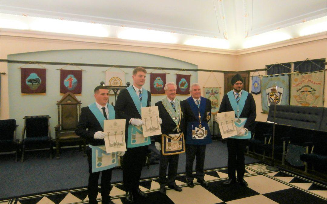 Presentation of three Master Mason's Certificates